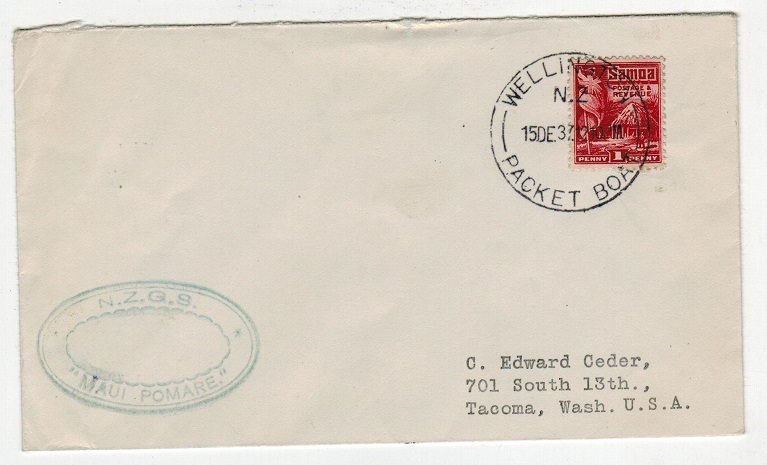SAMOA - 1937 1d rate MAUI POMARE maritime cover to USA with WELLINGTON PACKET BOAT cancel.