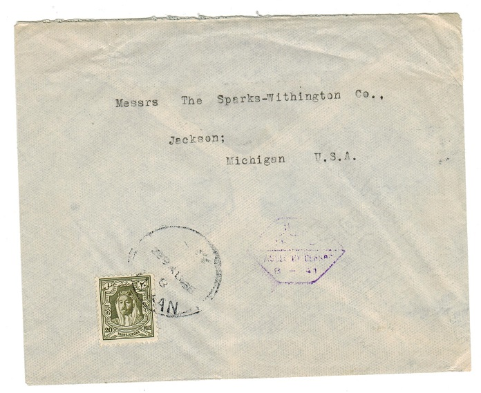 TRANSJORDAN - 1945 censor cover to USA.