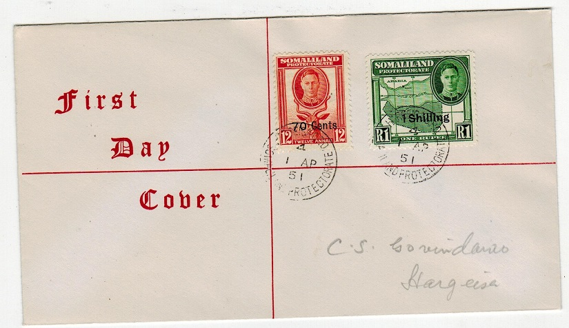SOMALILAND - 1951 70c and 1/- surcharge first day cover with HARGEISA