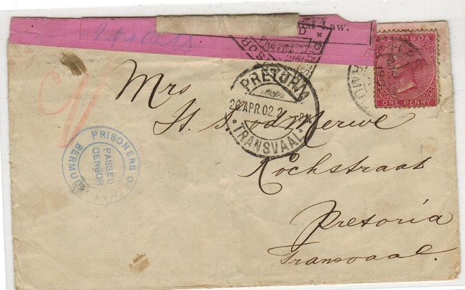 BERMUDA - 1902 1d rate BOER WAR internee cover to Transvaal with BERMUDA/CENSOR strike.