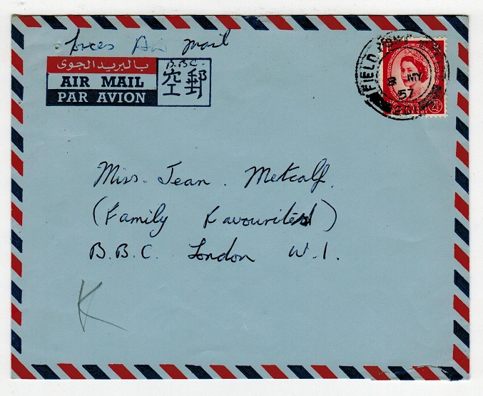 TRANSJORDAN - 1957 FPO/201 cover to UK from Jordan.