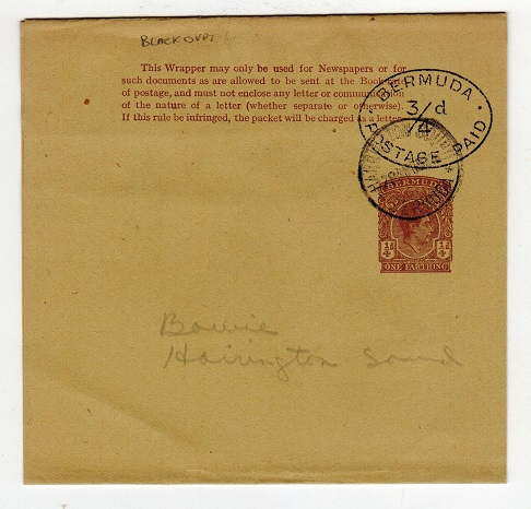 BERMUDA - 1950 1/4d postal stationery wrapper with 3/4d h/s applied used at HARRINGTON SOUND.