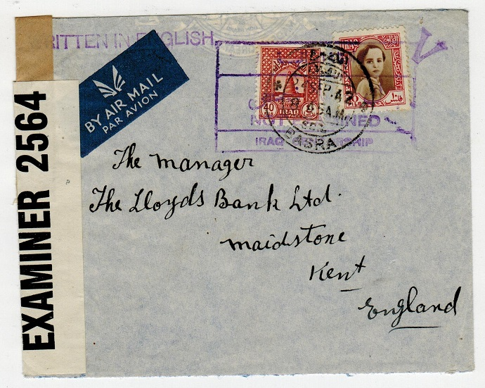 IRAQ - 1942 NOT EXAMINED censor cover to UK used at BASRA.