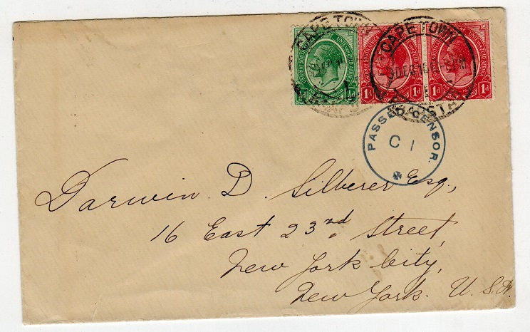 SOUTH AFRICA - 1915 2 1/2d rate PASSED BY CENSOR cover to USA.