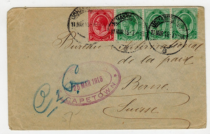 SOUTH AFRICA - 1915 2 1/2d rate cover to Switzerland with CENSOR/CAPETOWN h/s.