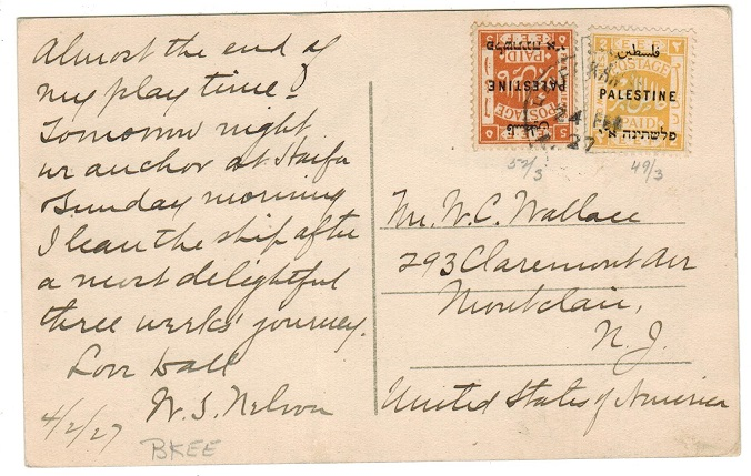 PALESTINE - 1927 7m rate postcard to USA cancelled HAIFA KANTARA TPO SOUTH.