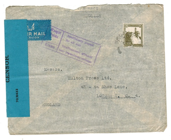 PALESTINE - 1942 censor cover to UK with INSUFFICIENTLY PREPAID handstamp applied.