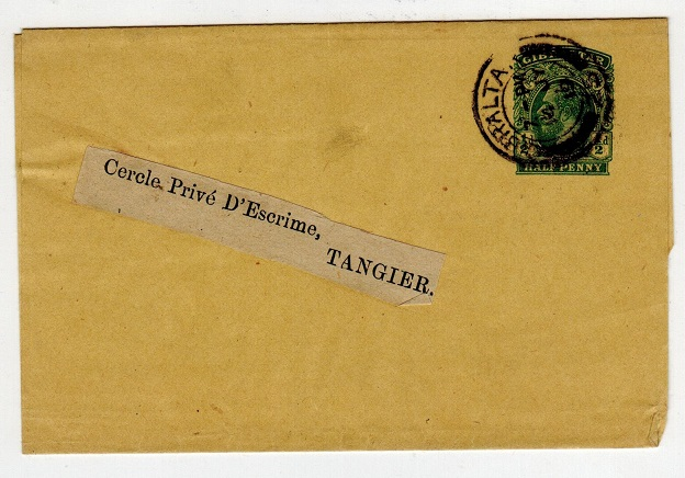 GIBRALTAR - 1912 1/2d green postal stationery wrapper used to Tangier.  H&G 12.