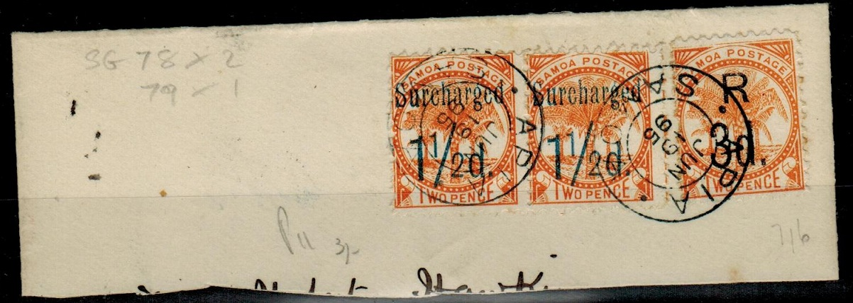 SAMOA - 1895 piece with surcharges used at APIA.