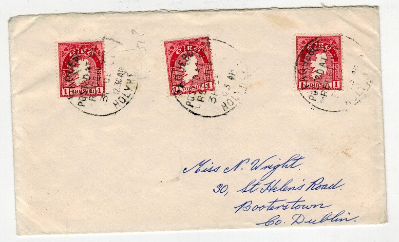 IRELAND - 1951 PAQUEBOT cover from Holyhead to Co Dublin using Irish 1d adhesives.