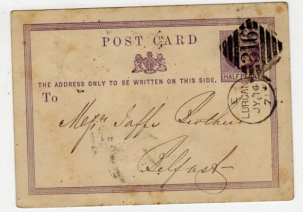 IRELAND - 1870 1/2d PSC of GB to Belfast cancelled