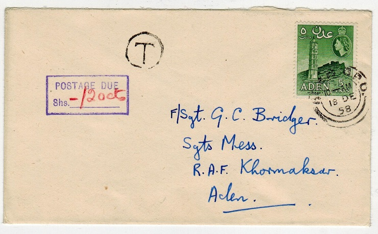 ADEN - 1958 underpaid local cover with POSTAGE DUE/SHS h/s applied.