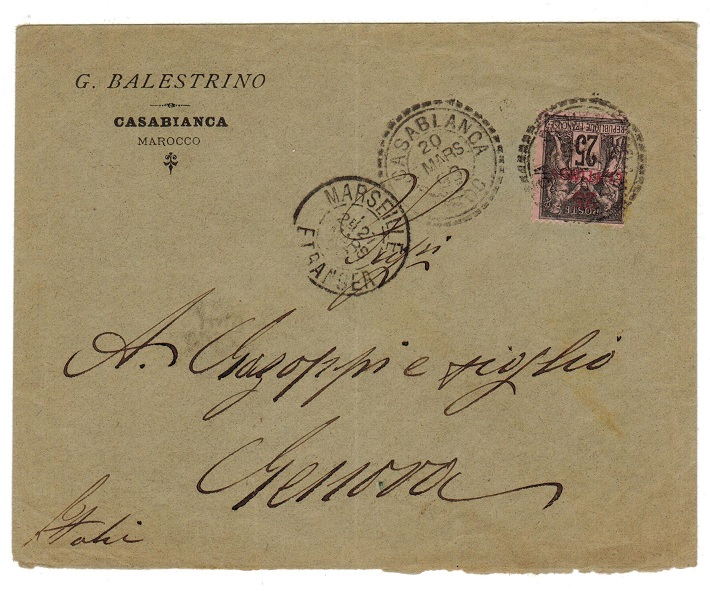 MOROCCO AGENCIES - 1898 25c rate cover to Italy used at CASABLANCA.