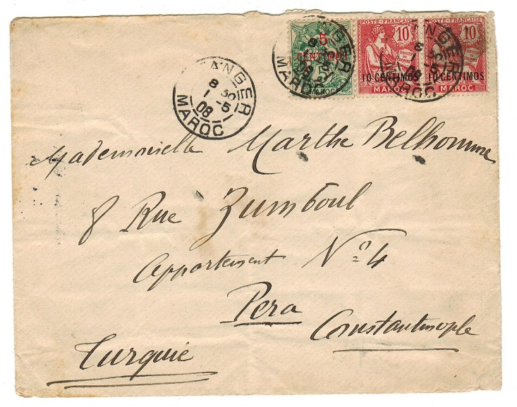 MOROCCO AGENCIES - 1908 cover to Constantinople used at TANGIER.