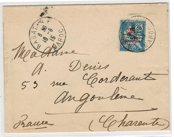 MOROCCO AGENCIES - 1915 cover to France used at RABAT.