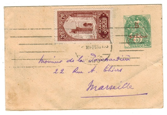 MOROCCO AGENCIES - 1912 5c on 5c PSE to France uprated and used at CASABLANCA.