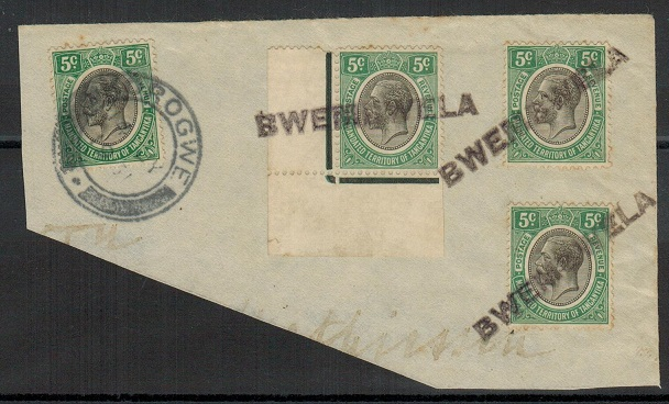 TANGANYIKA - 1931 piece with 5c adhesives tied by BWEMAWELA s/l strikes.