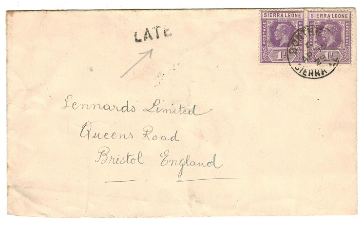 SIERRA LEONE - 1929 2d rate cover to UK used at BONTHE with LATE h/s applied.