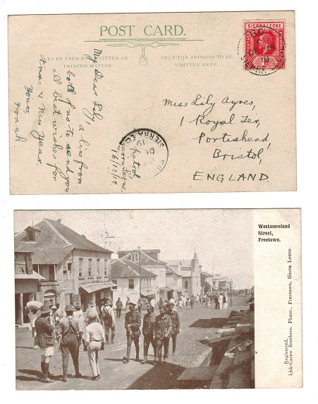 SIERRA LEONE - 1919 1d rate postcard use to UK from BO.