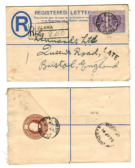 SIERRA LEONE - 1916 3d RPSE uprated with 1d pair from BLAMA and with LATE h/s applied. H&G 4.