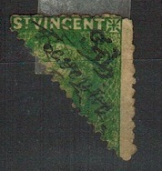 ST.VINCENT - 1882 3d black on half 6d green BI-SECT overprinted REVENUE.