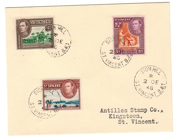 ST.VINCENT - 1948 multi franked local cover used at SION HILL/ST.VINCENT.