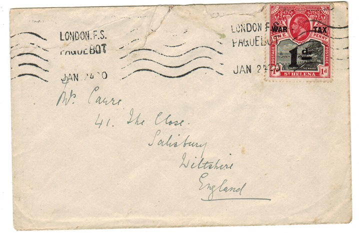 ST.HELENA - 1920 cover to UK with 1d