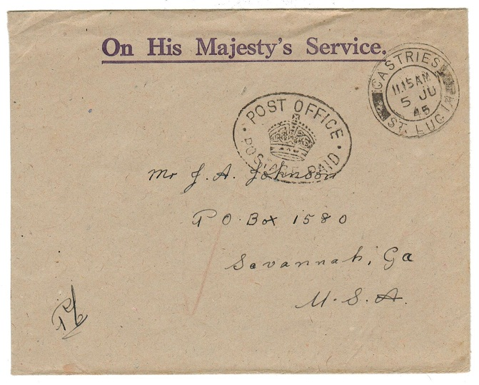 ST.LUCIA - 1945 OHMS envelope with POST OFFICE/POSTAGE PAID h/s.