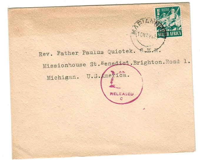 SOUTH AFRICA - 1942 RELEASED/C censor cover to USA used at MARIANNHILL.