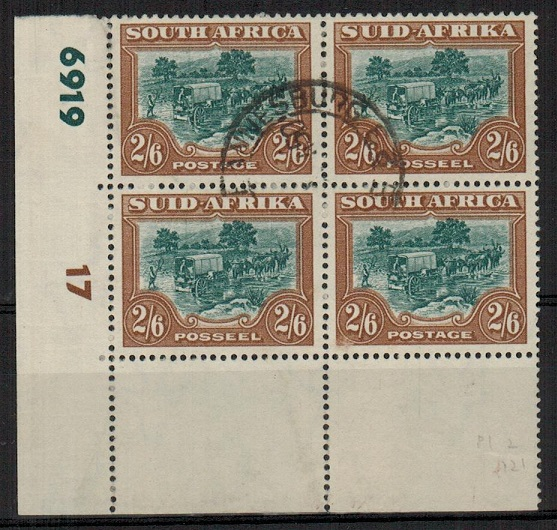 SOUTH AFRICA - 1949 2/6d CYLINDER block of four used.  SG 121.