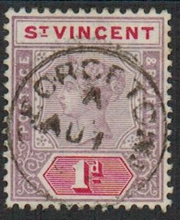 ST.VINCENT - 1899 1d (SG 68) cancelled by complete GEORGETOWN cds.