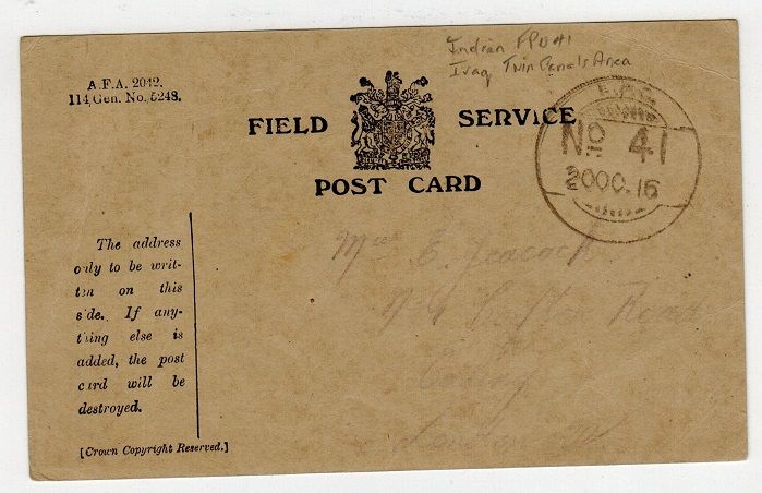 IRAQ - 1916 FIELD SERVICE card from FPO/No.41 to UK from Indian troops stationed in Iraq.