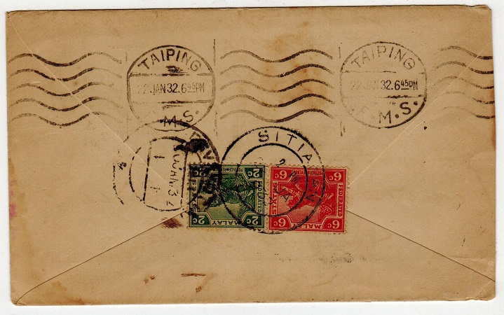 MALAYA (Perak) - 1932 8c rate cover to India used at SITIAWAN.