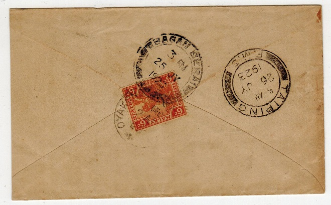 MALAYA (Perak) - 1923 6c rate cover to India used at BAGAN SERAI.