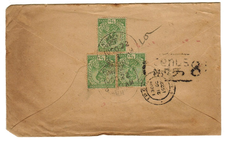 MALAYA (Perak) - 1922 inward underpaid cover from India with