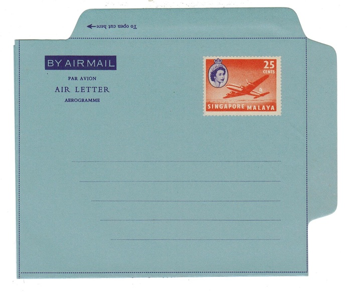 SINGAPORE - 1956 25c PS air letter unused.  H&G 7.