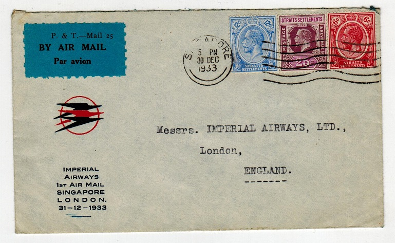 SINGAPORE - 1933 Imperial Airways first flight cover to UK.