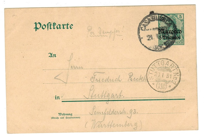 MOROCCO AGENCIES - 1908 use of 5pfg PSC to Germany used at CASABLANCA.
