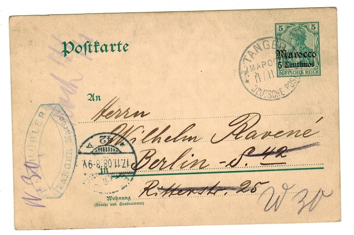 MOROCCO AGENCIES - 1908 use of 5pfg PSC to Germany used at TANGER.