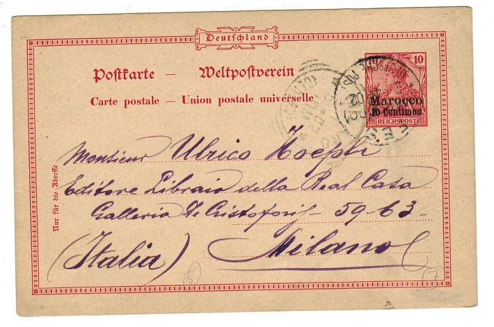 MOROCCO AGENCIES - 1900 use of 10pfg PSC to Italy used at FES.