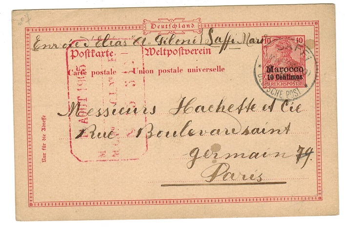 MOROCCO AGENCIES - 1905 use of 10pfg PSC to France used at SAFFI.