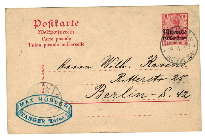 MOROCCO AGENCIES - 1907 use of 10pfg PSC to Germany used at TANGER.