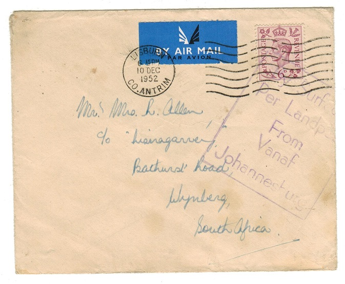 SOUTH AFRICA - 1952 BY SURFACE FROM JOHANNESBURG cacheted inward cover from UK.