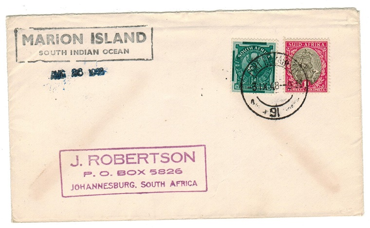 SOUTH AFRICA - 1948 MARION ISLAND cover to Johannesburg.
