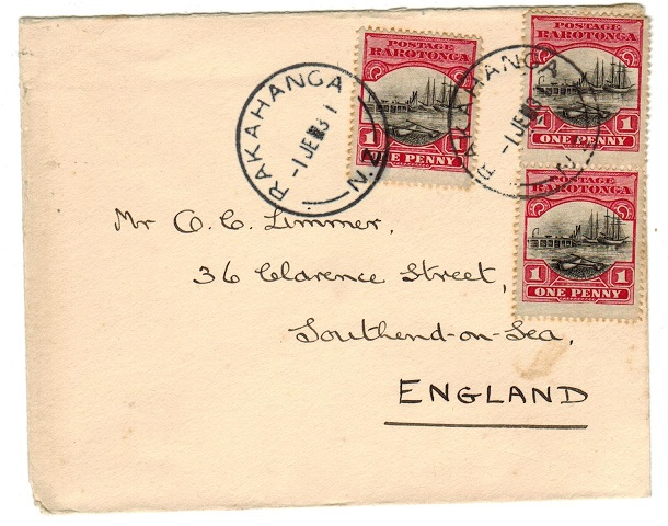 COOK ISLANDS - 1931 3d rate cover to UK used at RAKAHANGA.