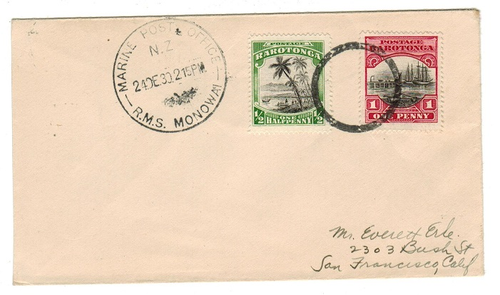 COOK ISLANDS - 1930 R.M.S.MONOWAI maritime cover to USA.