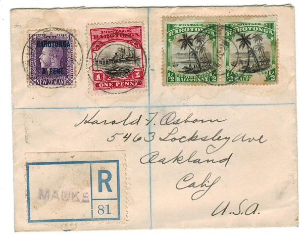 COOK ISLANDS - 1929 5 1/2d rate registered cover to USA used at MAUKE.