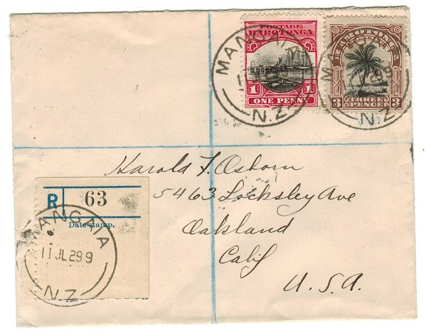 COOK ISLANDS - 1929 4d registered cover to USA used at MANGAIA.
