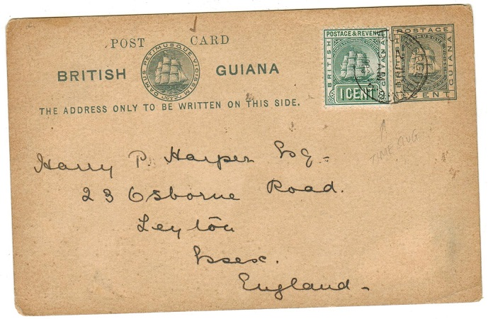 BRITISH GUIANA - 1894 1c PSC to UK uprated with 1c adhesive and used at GEORGETOWN. H&G 10.