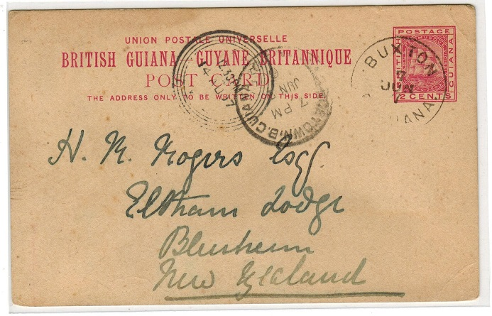 BRITISH GUIANA - 1892 2c PSC to New Zealand used at BUXTON.  H&G 8.